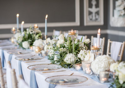 Dusty Blue Top Table Wedding Styling - Ambience York