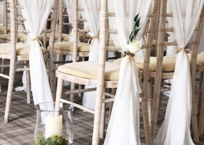 Chiavari Chair Chiffon Drapes styled by Ambience Venue Styling