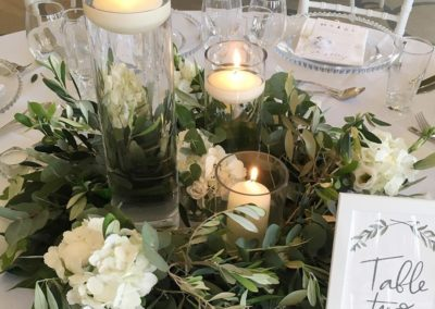 Cylinder Vase Centrepiece Wreath styled by Ambience Venue Styling Harrogate
