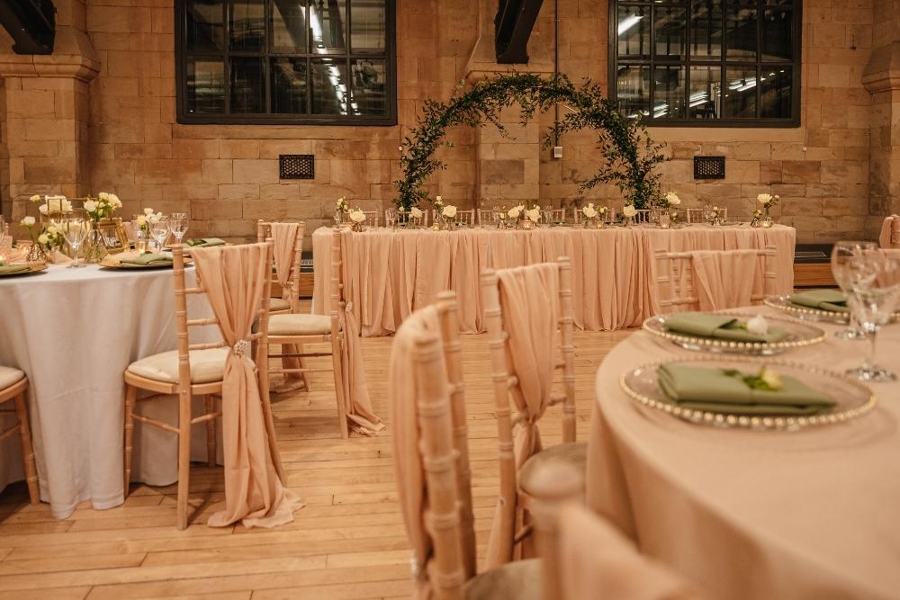 Blush Pink Sage Green Wedding Reception Ambience Venue Styling Teesside