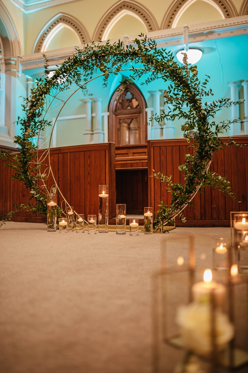 Foliage moongate wedding arch Ambience Venue Styling Teesside